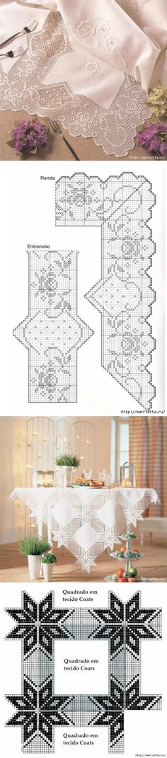 Стильное вязание для дома. ЛЕН и КРЮЧОК. Скатерти со схемами
