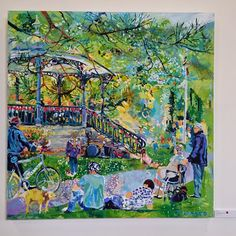 Painting of Pavilion Gardens band stand on a summers day, one of thee entries in Buxton Spa Prize 2014, photo by Neil Scowcroft - Google+