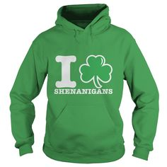 I Love Shenanigans funny St. Patrick's day hoodie. T-shirts, sweatshirts and more apparel is also available. Wearing a fun Saint Paddy's day shirt is a great way to show love for this fun Irish inspired holiday! Other St. Patrick's day styles are also available.
