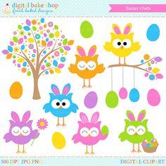 Easter Owls Clip Art Clipart Digital Spring
