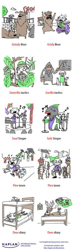 Homophones are a confusing aspect of English.Take a look at our homophones illustration. Discover the different meanings of words that sound the same. This one has an animal theme! English Fun, English Words, English Lessons, English Grammar, Teaching English, Learn English, English Language, Language Arts, Grammar And Vocabulary