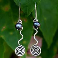 Pearl dangle earrings, 'Black Iridescence' by NOVICA