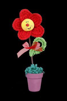 Flor de papel crepe en maceta