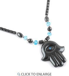 "18"" Hamsa Blue CZ #HematiteNecklace * $4.47 Hematite Necklace, Hamsa, 18th, Personalized Items, Stone, Metal, Red, Pink, Batu"