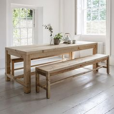 Dinning Table With Bench, Chunky Dining Table, Narrow Dining Tables, Table With Bench Seat, Farmhouse Table With Bench, Kitchen Table Bench, Pine Dining Table, Farmhouse Dining Room Table, Dinning Room Tables