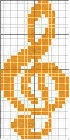 Treble cleft graph - would make a great scarf or afghan. Filet Crochet, Crochet Chart, Cross Stitch Designs, Cross Stitch Patterns, Quilt Patterns, Alpha Patterns, Knitting Charts, Knitting Stitches, Cross Stitching