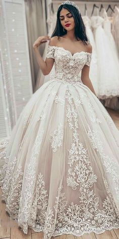 Off the Shoulder Ball Gown Wedding Dress, Fashion Custom Made Bridal Dresses, Pl. - Off the Shoulder Ball Gown Wedding Dress, Fashion Custom Made Bridal Dresses, Plus Size Wedding dress - Popular Wedding Dresses, Long Wedding Dresses, Princess Wedding Dresses, Wedding Dress Styles, Modest Wedding, Elegant Wedding, Backless Wedding, Bridesmaid Dresses, Casual Wedding
