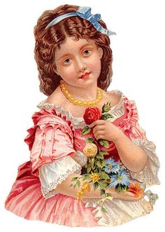 Girl in beautiful clothing, holding flowers