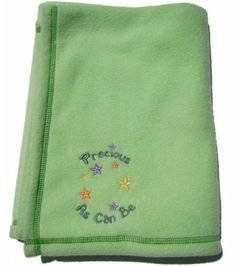 Fleece Embroidered Baby Blanket - Green Fleece Embroidered Baby Blanket - Green by Emerald Baby. $33.00. Soft, brushed, 100% polyester fleece blanket with exclusive .Precious As Can Be. embroidered design.Dimensions: 30'' x 40'' (76.2cm x 101.6cm).Blanket is machine washable, durable, hypo-allergenic with anti-piling finish (on one side). Embroidered Baby Blankets, Home Kitchens, Emerald, Color Red, Green, Bedding, Kids, Design, Colour Red