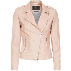 Set The Tyler Leather Jacket ($520) ❤ liked on Polyvore featuring outerwear, jackets, pink studded jacket, asymmetrical leather jackets, genuine leather jackets, studded jacket and lapel jacket
