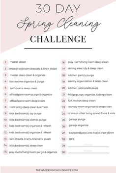 30 Day Spring Cleaning Challenge!! FREE Checklist!