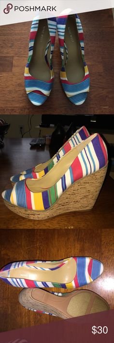 Colorful striped Nine West wedges. NWOT. Colorful striped Nine West wedges. NWOT. Nine West Shoes Wedges