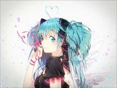 Anime wallpaper vocaloid hatsune miku hakusai (tiahszld) single looking at viewer twintails very long hair ahoge aqua eyes aqua hair girl dress bow ribbon (ribbons) hair bow wings 1150x863 463579 en