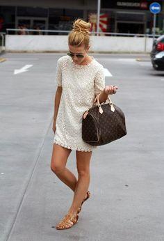 White mini lace dress