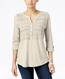 Style & Co. Crochet Detail 3/4 Sleeve Top, Only at Macy's