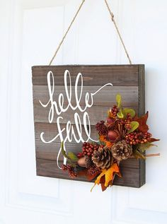 38 Best DIY Projects for Fall - Hello Fall Door Hanger - Quick And Easy Projects…