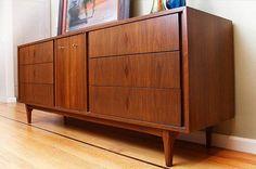 "Mid-century Modern ""B.P. JOHN"" Black Walnut Triple Dresser"