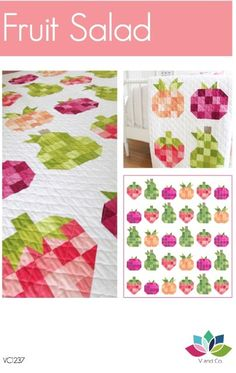 """This is a PDF file Quit finished size: 75"""" x 83"""" Traditional piecing and one template for strawberry middle leaf This pattern uses V and ..."""