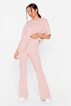 Together Again Petite Oversized Tee and Flare Pants Set | Nasty Gal
