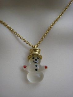 Vintage Avon Frosty Snowman Necklace Top Hat - I had one of these when I was little