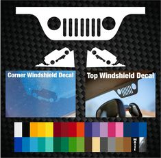 JEEP WRANGLER Windshield Top Grill and bottom Corner Replacement Window Decals | eBay Offroad Accessories, Jeep Wrangler Accessories, Jeep Accessories, Jeep Stickers, Jeep Decals, Jeep Hacks, Tonka Trucks, Jeep Baby, Jeep Mods