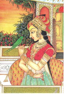 Mughal painting is a particular style of South Asian painting, generally confined to miniatures either as book illustrations or as single work, which emerged from Persian miniature painting, with Mughal Miniature Paintings, Mughal Paintings, Indian Art Paintings, Abstract Paintings, Oil Paintings, Rajasthani Painting, Rajasthani Art, Madhubani Art, Madhubani Painting