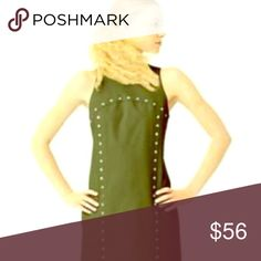 ♠️♠️ Kate ♠️Saturday Dress Olive green with accent studs. Snaps at back of neck with hidden closure. All snaps intact. Worn few times gently, beautiful dress with lots of wear left. No stains or noted abnormality. This is a casual day dress.  Best price is buy 2 get one  lowest item free or bundle price. kate spade Dresses Mini