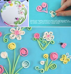 How to quill with gumpaste and fondant (My Cake School). Cute technique for deco… How to quill with gumpaste and fondant (My Cake School). Cute technique for decorating cakes, cupcakes, cookies, etc. Fondant Icing, Fondant Toppers, Fondant Cakes, Chocolate Fondant, Modeling Chocolate, Cake Decorating Tutorials, Cookie Decorating, Decorating Cakes, Decorating Supplies