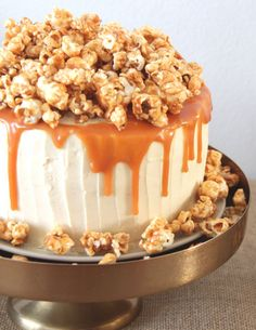 Cake with caramel, frosting and caramelized popcorn. This one is from my homemade birthday cake buffet