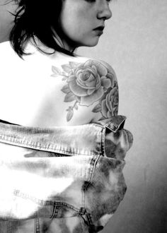 shoulder tattoo | Tumblr  I really like the way this rose looks... Wonder how it'd look with my leopard print stars