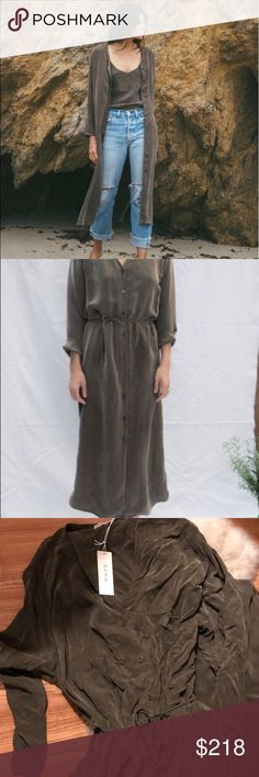 1bd20532ce3b Ozma Mal Pais Duster, tobacco cupro, Large cupro, brand new, runs small.  Can be worn closed as a dress or open as a duster jacket ozma Dresses Midi