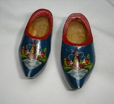 Vintage Wooden Dutch Clogs with Windmill and Village on by marias9, $8.50