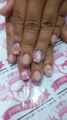 French, coleccion Be de organic, flores en 3D y un detalle en marmoleado PINK FANTASY NAILS Acrylic Nails, Acrylic Nail Art, Acrylics, Acrylic Na, Acrylic Nail Designs