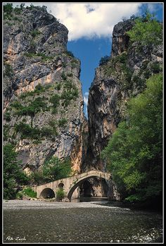 Old stone bridge at Portitsa Canyon, Grevena, Greece