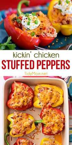 Kickin' Chicken Stuffed Peppers are conveniently portioned and stuffed with chicken, rice, tomatoes, and cheese to create a weeknight dinner ready for everyone to dig in. Packed full of flavor in one easy-to-make and totally delicious dinner recipe they'l Healthy Chicken Recipes, Gourmet Recipes, Healthy Snacks, Cooking Recipes, Cooking Games, Cooking Classes, Healthy Dinner With Chicken, Grilled Recipes, Cooking Corn