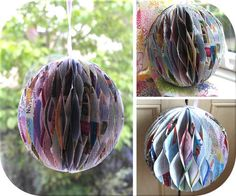 Recycled Magazine pages to a Party Ball decor