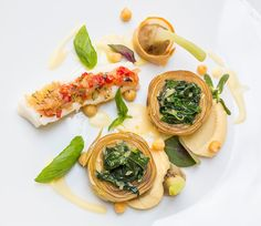 Filled mountain artichoke with stock fish and chickpea puree #Recipe Herbert Hintner, maître-de-cuisine in the star restaurant 'Zur Rose' in St. Michael   Eppan