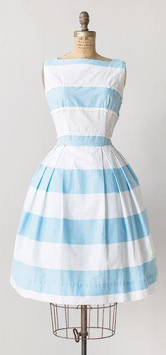 vintage 1950s sky blue stripes sundress