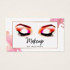#makeupartist #businesscards - #Chic Creative Watercolor Eye Makeup Artist III Business Card