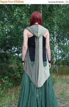 SALE Green Forest Fairy Recycled Vest Hooded Pixie Elven Dryad Nymph Boho Hippie…