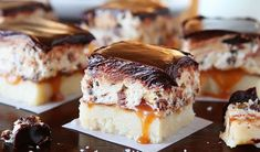 Must Make: Cookie Dough Billionaire Bars. The most amazing dessert you can bring to a potluck ever. 4 Layers of Shortbread, Salted Caramel Sauce, Cookie Dough, and homemade Chocolate Ganache. Köstliche Desserts, Delicious Desserts, Dessert Recipes, Yummy Food, Yummy Cookies, Yummy Treats, Sweet Treats, Eat Dessert First, Dessert Bars