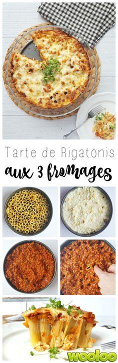 Faites changement en servant cette délicieuse tarte de rigatonis aux 3 fromages!