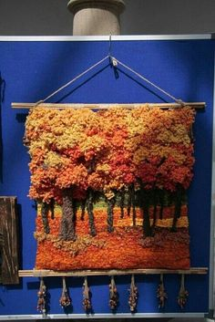 of Autumn (photo only) Weaving Textiles, Weaving Art, Weaving Patterns, Tapestry Weaving, Loom Weaving, Hand Weaving, Weaving Wall Hanging, Peg Loom, Textile Fiber Art