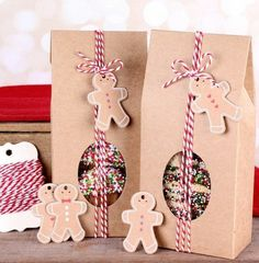 Christmas Treat Boxes Kit with Kraft Brown Boxes, Bakers Twine, Gingerbread Man Tags (Set of Christmas Goodies, Homemade Christmas, Christmas Treats, Christmas Projects, Christmas Holidays, Christmas Cards, Christmas Cookies Packaging, Diy Gifts, Christmas Gifts