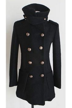 Double Breasted Notched Collar Wool-blend Coat $134.00
