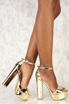 Open Toe Round Platform Chunky High Heels