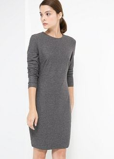 Fitted Dress in Gunmetal Gray, size Small from Mango