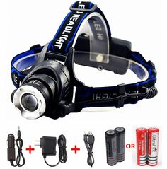 Benran Waterproof LED Headlamp Headlight Rechargeable Head Flashlight Lamp with 3 Xm-l T6 4 Modes Outdoor Sports Hiking Camping Riding Fishing Hunting (Zoomable). Materials: durable aluminum alloy and rubber. Very Comfortable to wear. Super bright Waterproof XM-L T6 LED beam. Zoomable and Adjustable(90 degree). It can destroy obstacles with attack rescue head. 3 Modes: Low;Mid;High;Strobe. Before the lamp holder stretching: Astigmatism. After stretching: Spotlight. Life time:100000hours…