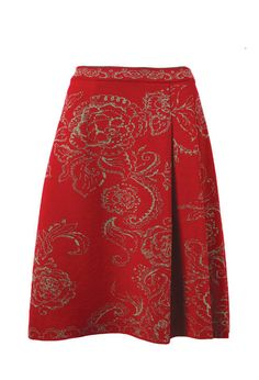 Lavishly elegant classic jacquard skirt with pleats.