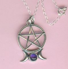 Sterling TRIPLE MOON PENTACLE With Amethyst Pendant and Chain